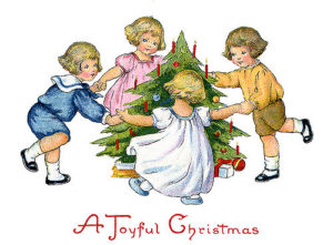 Children dancing around the decorated Christmas tree - a 1918 vintage greeting card, with the greeting, ''A Joyful Christmas''